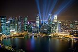 Singapore Downtown Overview At Night Art Print