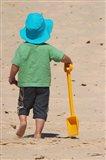 Little Boy and Spade on Beach, Gold Coast, Queensland, Australia Art Print