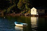 Boat on the lake at Lochmara Lodge, Marlborough Sounds, New Zealand Art Print