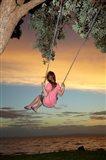 Girl, Rope Swing, Family Fun, Thames, New Zealand Art Print