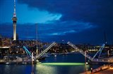 Wynyard Crossing Bridge, And Skytower, Auckland Waterfront, New Zealand Art Print