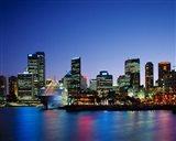 Skyline and Cruise Ship at Night, Sydney, Australia Art Print