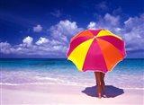 Female Holding a Colorful Beach Umbrella on Harbour Island, Bahamas Art Print