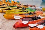 Bahamas, Eleuthera, Princess Cays, beach kayaks Art Print