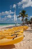 Kayaks and sailboats, Bavaro, Higuey, Punta Cana, Dominican Republic Art Print