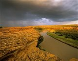 Approaching storm on the Milk River at Writing on Stone Provincial Park, Alberta, Canada Art Print