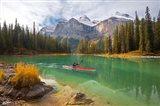 Kayaker on Maligne Lake, Jasper National Park, Alberta, Canada Art Print