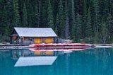 Canoe rental house on Lake Louise, Banff National Park, Alberta, Canada Art Print