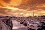 Boats at Sunset, Comox Harbor, British Columbia Art Print