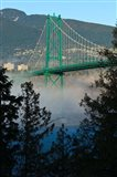 British Columbia, Vancouver, Lion's Gate Bridge over Fog Art Print