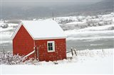 North America, Canada, Nova Scotia, Cape Breton, Cabot Trail, Red Shed In Winter Art Print