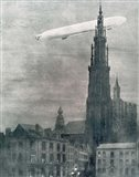 WORLD WAR I (1914-1918) First German Zeppelin Over Antwerp Art Print