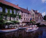 Tourist Boats, Bruges, Belgium Art Print
