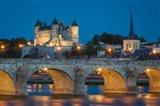 Twilight Over Chateau Saumur, Pont Cessart And River Loire, France Art Print