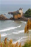 Surfers on the Bay of Biscay, France Art Print