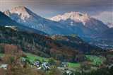 Germany, Bavaria, Elevated Town View From The Rossfeld Panoramic Ring Road In Fall Art Print