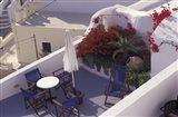 Patio of Hotel Between Fira and Imerovigli, Greece Art Print
