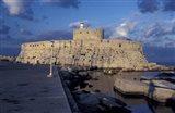 Fort St Nicholas and Mandraki Harbor, Rhodes, Greece Art Print