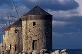 Windmills along Mandraki Harbor, Rhodes, Greece Art Print