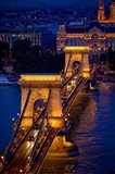 Hungary, Budapest Chain Bridge Lit At Night Art Print