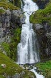 Iceland, Westfjords, Jokulflrdir, Lonagfjordur Nature Reserve Remote Fjord Waterfall Art Print