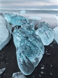 Icebergs On Black Volcanic Beach Vatnajokull, Iceland Art Print