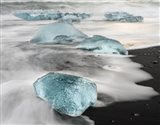 Icebergs On Black Volcanic Beach Near The Jokulsarlon Glacial Lagoon In The Vatnajokull National Park, Iceland Art Print