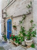 Italy, Puglia, Brindisi, Itria Valley, Ostuni Blue Door And Potted Plants Art Print