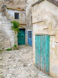 Italy, Basilicata, Matera Doors In A Courtyard In The Old Town Of Matera Art Print