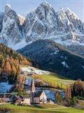 Church Sankt Magdalena In Villnoess Valley In Autumn, Geisler Mountains Italy Art Print