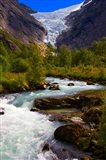 Norway Briksdal Glacier And River Art Print
