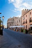 Spain, Castilla y Leon Region Restaurants along the City of Avila Art Print