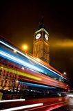 London, Big Ben, Houses of Parliament, Red bus Art Print