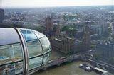 London Eye as it passes Parliament and Big Ben, Thames River, London, England Art Print