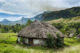 Traditional thatched roofed huts in Navala in the Ba Highlands, Fiji Art Print