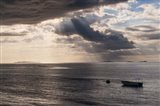 Dramatic light over a little boat, Mamanucas Islands, Fiji, South Pacific Art Print