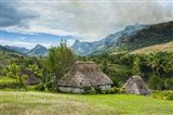 Traditional thatched roofed huts in Navala in the Ba Highlands of Viti Levu, Fiji Art Print