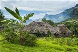 Traditional thatched roofed huts in Navala, Fiji Art Print