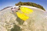 Couple snorkeling near Beqa Lagoon, Fiji Art Print