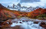 Argentina, Los Glaciares National Park Mt Fitz Roy And Lenga Beech Trees In Fall Art Print