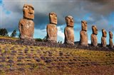 Easter Island, Chile A Row Of Moai Statues Art Print