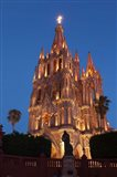 Mexico, San Miguel De Allende Cathedral Of San Miguel Archangel Lit Up At Night Art Print