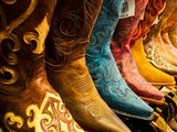 Arizona, Old Scottsdale, Line Up Of New Cowboy Boots Art Print