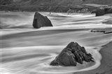 Garrapata Beach Coastal Boulders (BW) Art Print