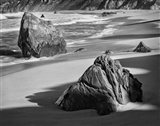 Rocky Coastline Of Garrapata Beach, California (BW) Art Print