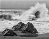 California, Garrapata Beach, Crashing Surf (BW) Art Print
