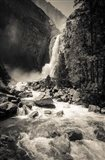 Lower Yosemite Falls, Yosemite National Park (BW) Art Print