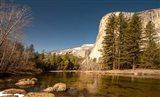 El Capitan towers over Merced River, Yosemite, California Art Print