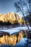 Yosemite Falls reflection in Merced River, Yosemite, California Art Print