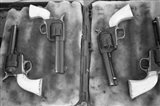 Guns On Display For A Cowboy Mounted Shooting Competition Art Print